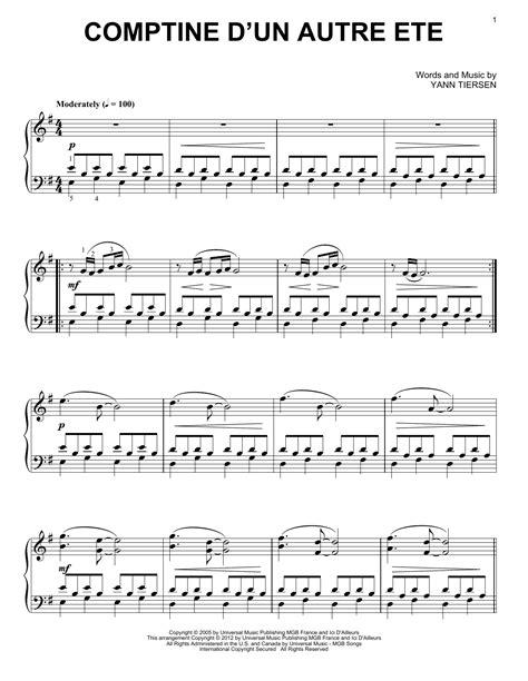 Jessaye De Toublier Avec Un Autre Lyrics by Comptine D Un Autre Et 233 From Am 233 Lie Sheet By Yann Tiersen Piano Vocal Guitar Right