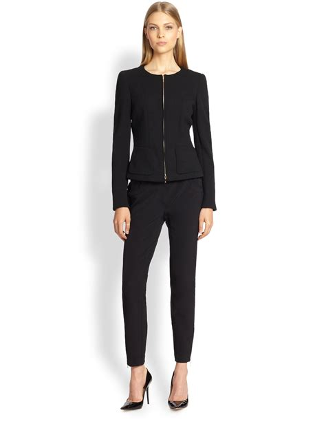 Blazer Zipper Black B escada collarless zip front jacket in black lyst