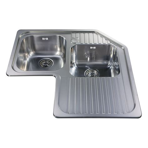 CCP3SS   Stainless steel corner double bowl sink   CDA