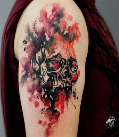watercolor tattoo europe magdalena bujak watercolor skull eastern europe
