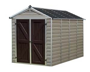 palram 6x10 plastic shed kit w skylight roof floor