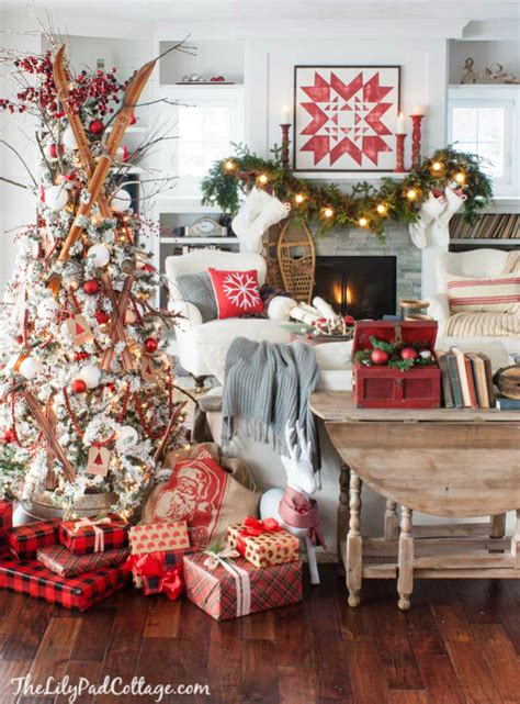christmas tree decorating vintage style thrifty cozy ski lodge inspired christmas tour the lilypad cottage