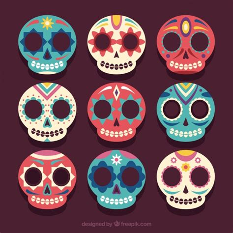 imagenes de calaveras hermosas set de bonitas calaveras mexicanas descargar vectores gratis