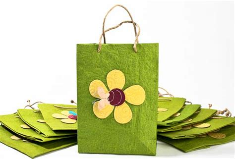 How To Make Handmade Paper Bags - green handmade paper gift bags set of 10 gift bags