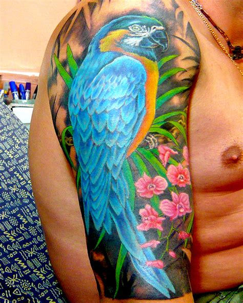 macaw tattoo parrot in color by thaimagictattoo on deviantart