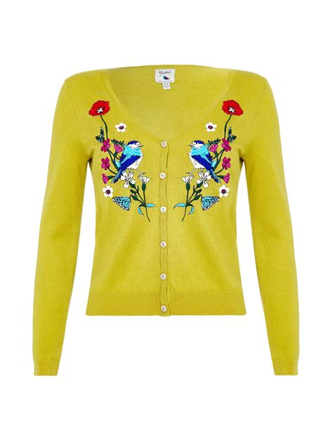 Set 2in1 Cardigan Yellow Floral 1950s style sweaters crop cardigans sets