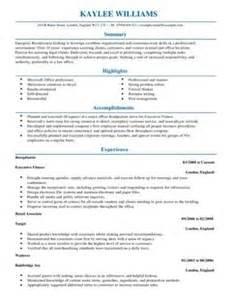 receptionist cv exle for admin livecareer