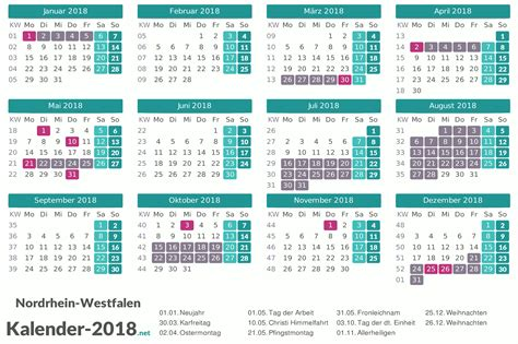 Kalender 2018 Mit Ferien Nrw Ferien Nordrhein Westfalen 2018 Ferienkalender 220 Bersicht