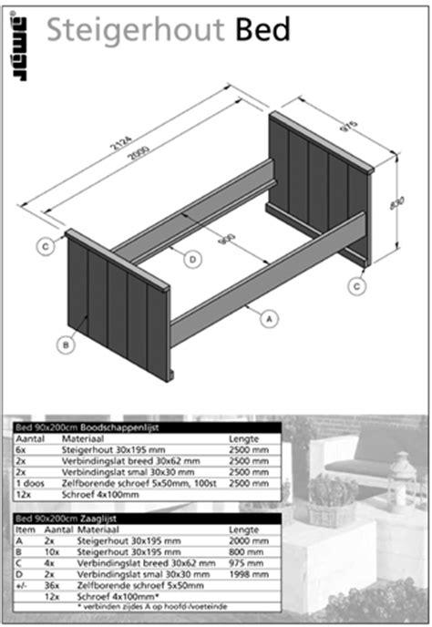 steigerhout bed maken tekening steigerhouten bed gratis bouwtekening voor een ledikant en