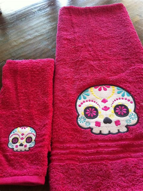 Skull Bathroom Set Clearance Sugar Skull Bathroom Towel Set Day Of The Dead Los Muertos The O Jays Day Of The