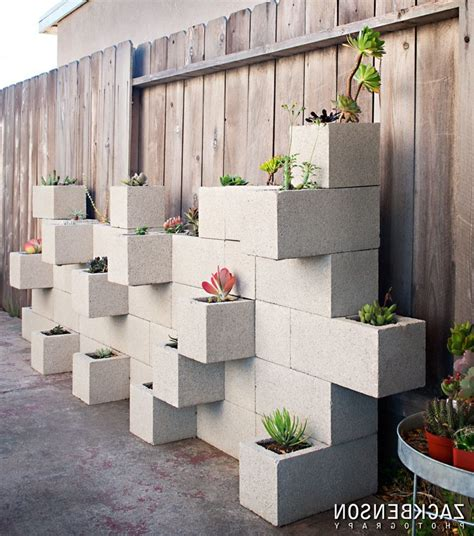 Cinder Block Wall Decorating Ideas Exterior Midcentury Garden Block Wall Ideas