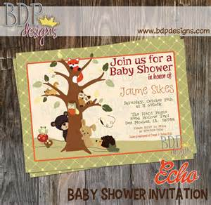 echo forest friends woodland baby shower invitation