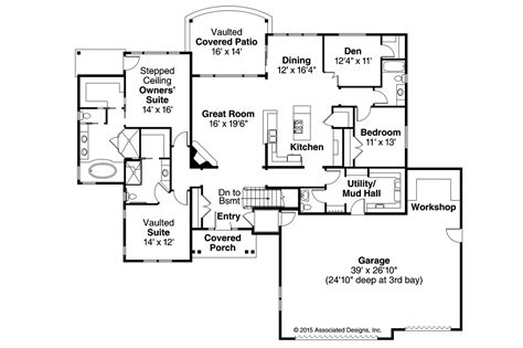 ranch floor plan ranch house plans creek 30 878 associated designs