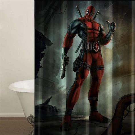 Deadpool Bathroom by Deadpool Marvel Shower Curtain Machine Washable Fabric