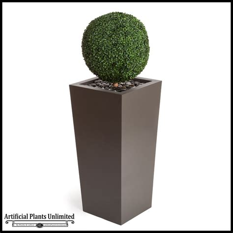 Outdoor Topiary Planters boxwood topiary sphere in modern tapered planter 59inh