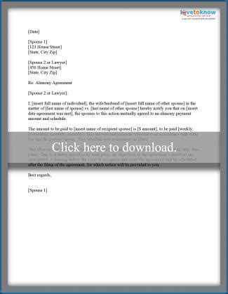 Spousal Support Receipt Template by Sle Alimony Letters Lovetoknow