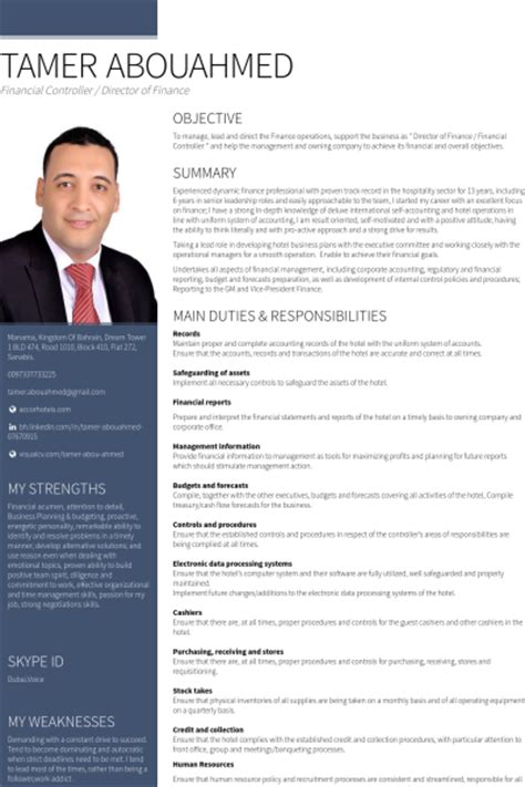 Best Resume Template In English by Financial Controller Resume Samples Visualcv Resume