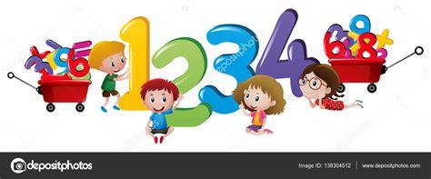 imagenes de niños jugando con numeros ni 241 os contando n 250 meros uno a cuatro vector de stock