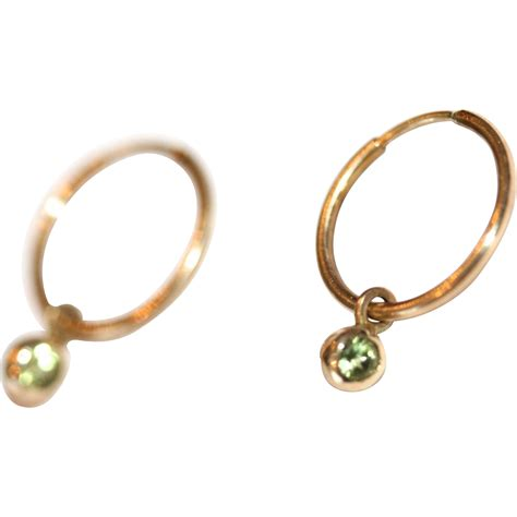 vintage 14 carat yellow gold hoop earrings and detachable