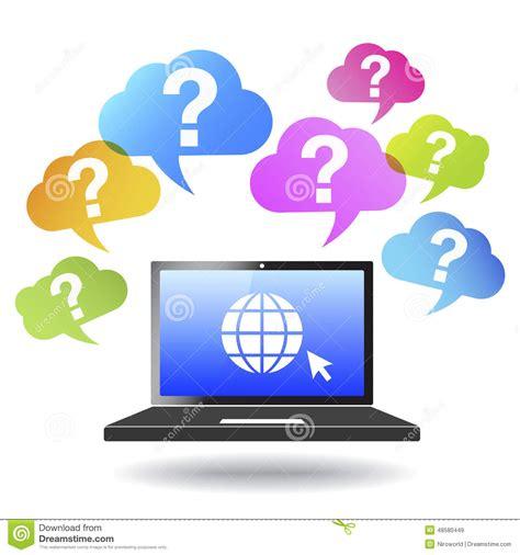 Computer Help Desk Quiz Question Mark Web And Internet Concept Stock Vector