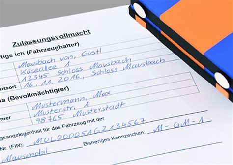 Vollmacht Auto Anmelden by Vordruck Vollmacht F 252 R Die Kfz Zulassung