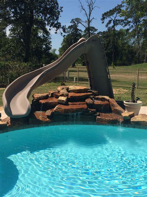 inground swimming pool turbo slide rock waterfall