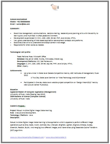 cv template for software engineer 10000 cv and resume sles with free cv