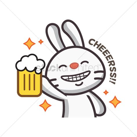 cartoon beer cheers cute rabbit saying cheers vector image 1957008