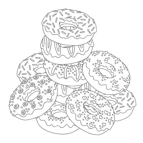 coloring page donut download or print the free pile of donuts coloring page