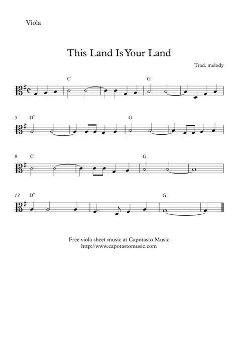 free printable sheet music viola this land is your land free easy viola sheet music