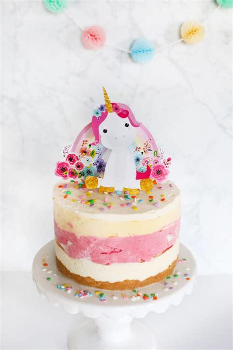 ice cream cake recipe unicorn rainbow cake topper instant