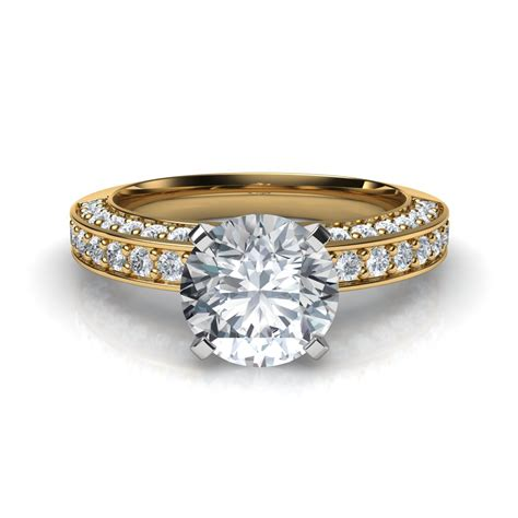Pave Engagement Rings by Three Sided Pave Diamonds Engagement Ring
