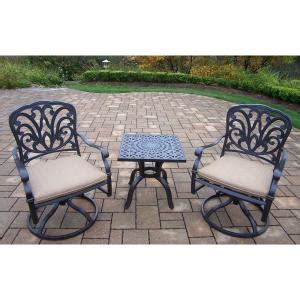 Outdoor Bistro Chair Cushions Square Oakland Living Cast Aluminum 3 Square Patio Bistro Set With Spunpoly Beige Cushions