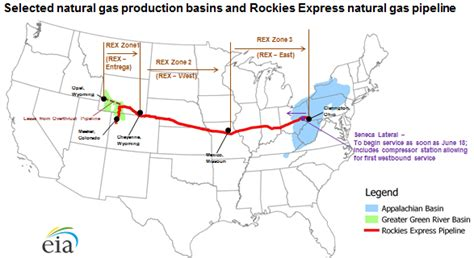 texas express pipeline map westbound gas flows begin on rockies express pipeline today in energy u s
