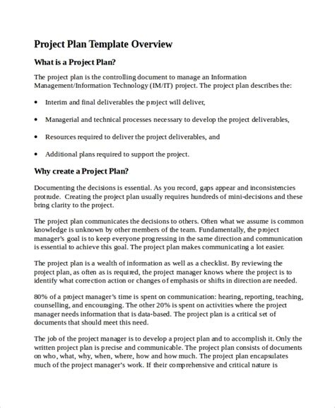 project planning document template 7 it project plan templates sle templates