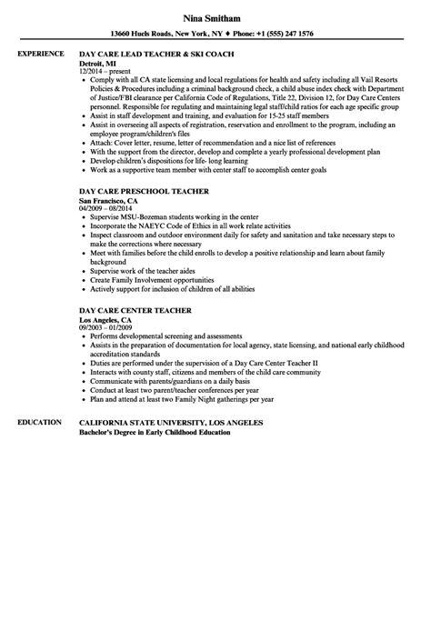 daycare cook resume sle exelent resume for nursery school elaboration