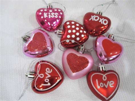 valentines day pink red glitter hearts 2 quot ornaments