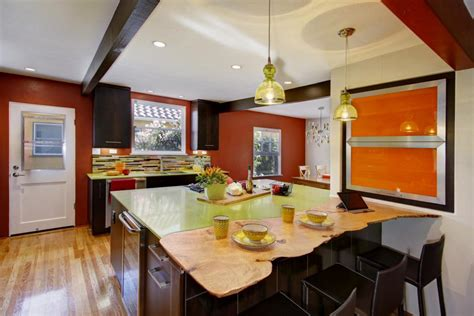 vibrant eclectic kitchen  island seating hgtv
