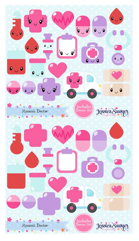 free printable kawaii planner stickers kawaii doctor clipart for planner stickers products and