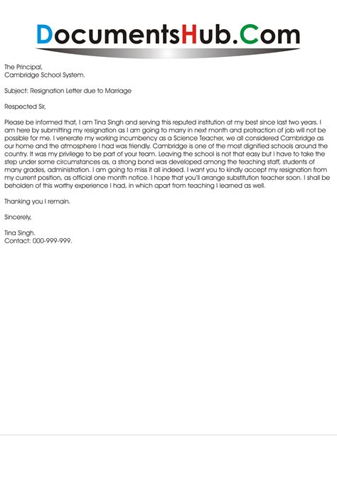 Resignation Letter Sle For Marriage Reason Resignation Letter Due To Marriage Format Documentshub
