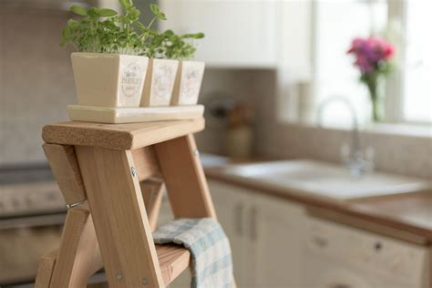 Traditional Wooden Kitchens - decorative kitchen step ladders timber step ladders hulley heritage range