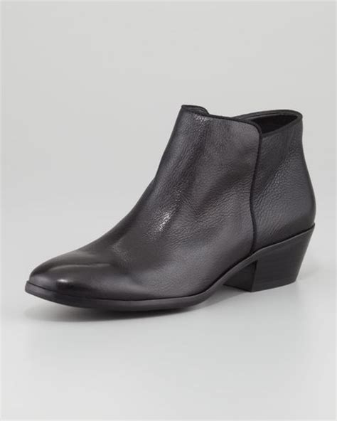 sam edelman petty leather ankle boot black in black blk