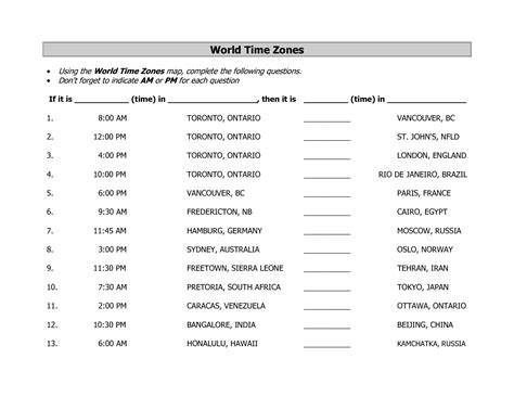 Time Zone Worksheet by 6 Best Images Of Us Time Zone Worksheet International