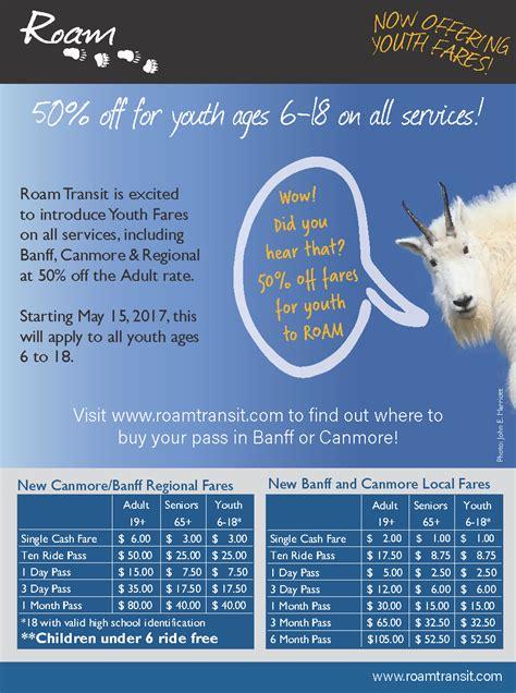 1 2 price youth fares passes roam transit
