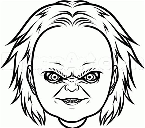 How To Draw Chucky Easy Step By Step Movies Pop Culture Chucky Doll Coloring Pages