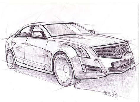 Cars 3 Sketches by Car Sketches 3 Cadillac Ats On Behance