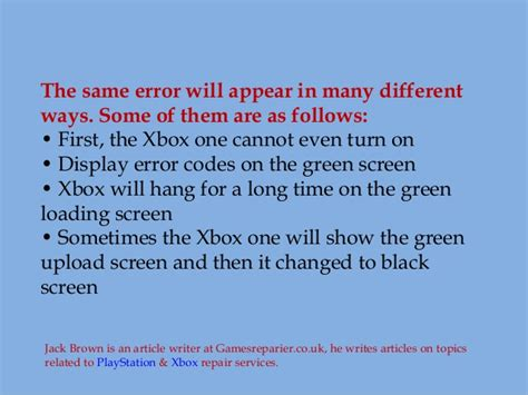 xbox one green screen of death game on console repair