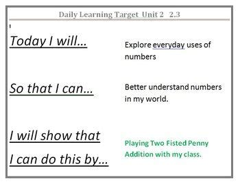 printable common core learning targets grade 1 everyday math daily learning targets learning
