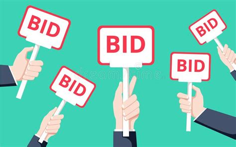 bid auction holding auction paddle flat vector illustration
