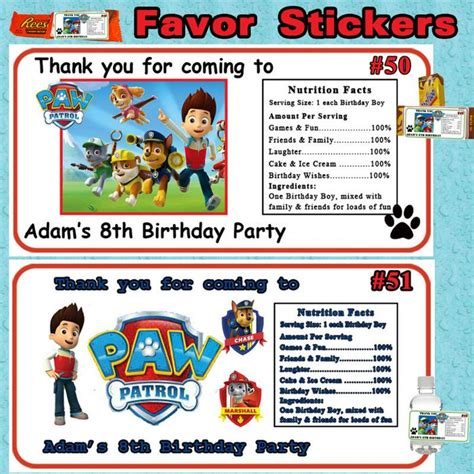 Personalized Paw Patrol Stickers